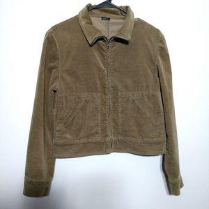 Katy Velveteen Crop Jacket Zip Up Green Me…